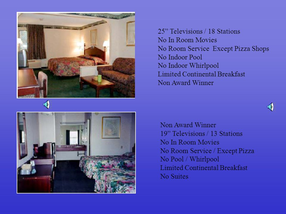 25 Televisions / 18 Stations No In Room Movies No Room Service Except Pizza Shops No Indoor Pool No Indoor Whirlpool Limited Continental Breakfast Non Award Winner 19 Televisions / 13 Stations No In Room Movies No Room Service / Except Pizza No Pool / Whirlpool Limited Continental Breakfast No Suites