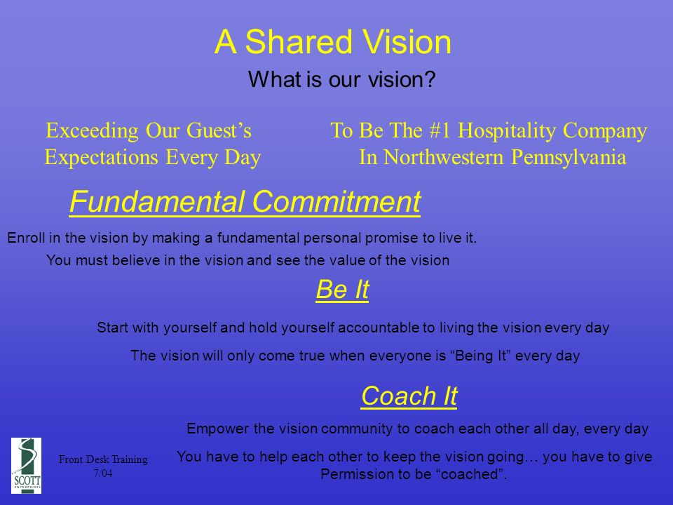 A Shared Vision What is our vision.
