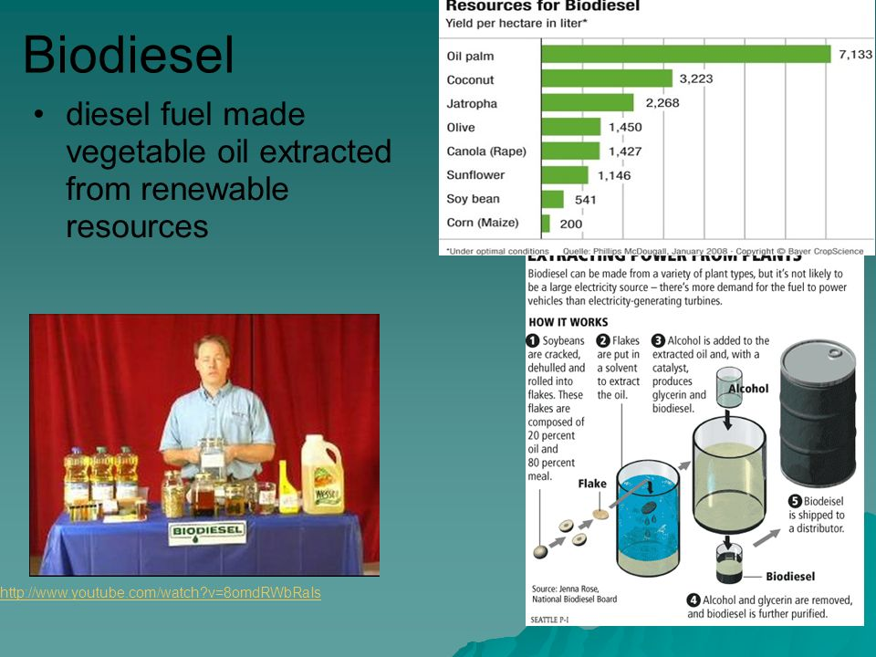 Biodiesel diesel fuel made vegetable oil extracted from renewable resources   v=8omdRWbRaIs