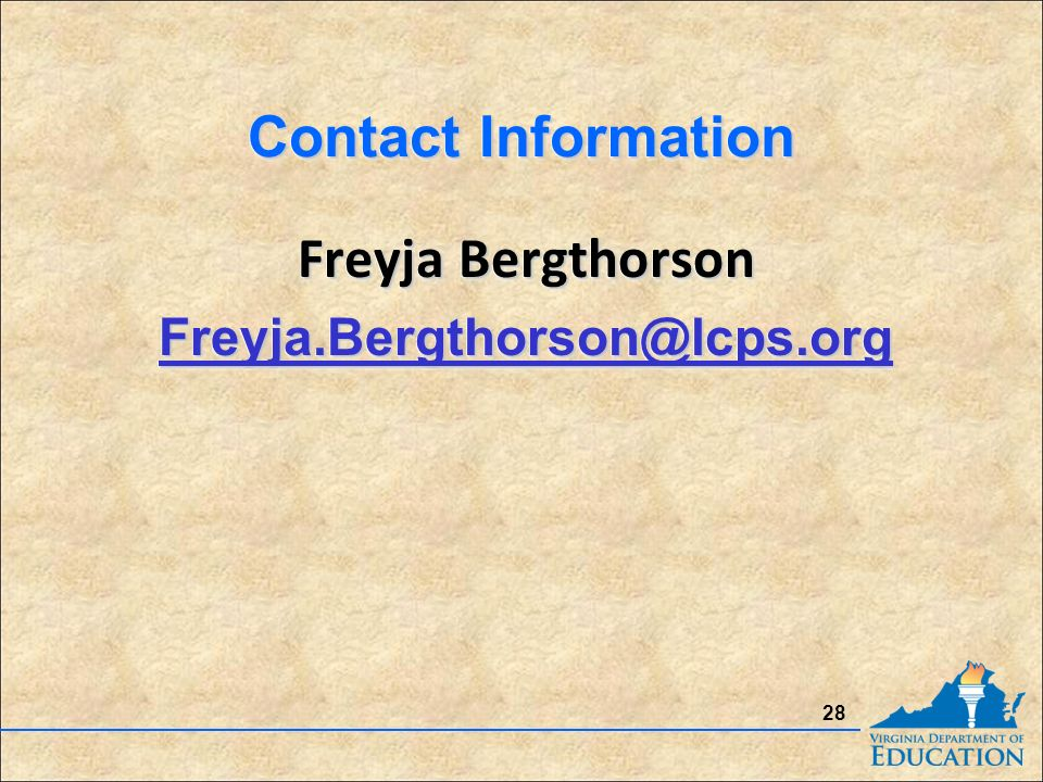 Contact Information Freyja Bergthorson Freyja Bergthorson 28