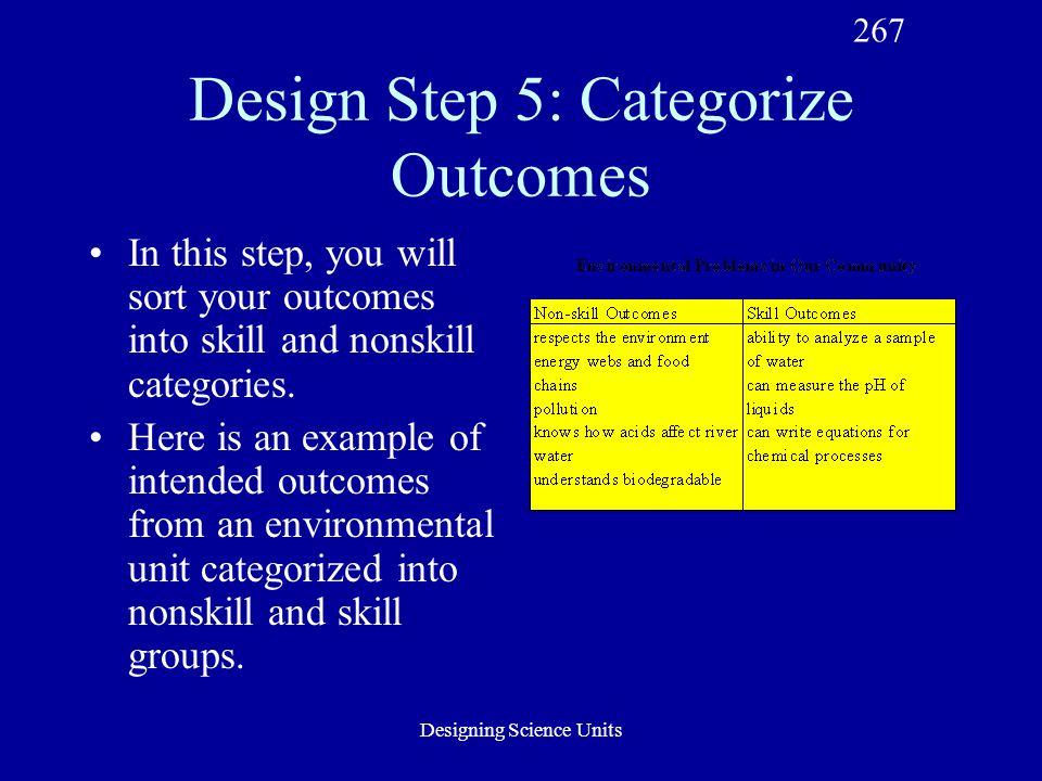 Designing Science Units Design Step 5: Categorize Outcomes In this step, you will sort your outcomes into skill and nonskill categories.