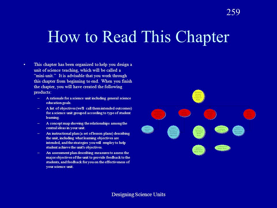 Designing Science Units How to Read This Chapter This chapter has been organized to help you design a unit of science teaching, which will be called a mini-unit. It is advisable that you work through this chapter from beginning to end.