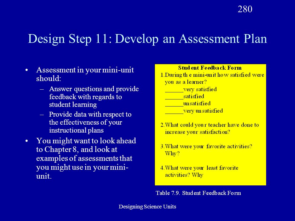 Designing Science Units Design Step 11: Develop an Assessment Plan Assessment in your mini-unit should: –Answer questions and provide feedback with regards to student learning –Provide data with respect to the effectiveness of your instructional plans You might want to look ahead to Chapter 8, and look at examples of assessments that you might use in your mini- unit.