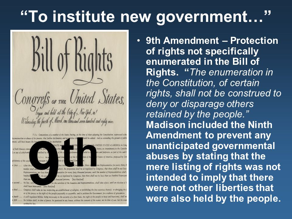 analyzing the bill of rights ninth • learn about rights from the colonist's perspective • consider the role historical context played in determining the rights in the bill of rights • identify and discuss the arguments for and against the addition of a bill of rights to the constitution • identify enumerated rights in the bill of rights and explain the meaning of each.