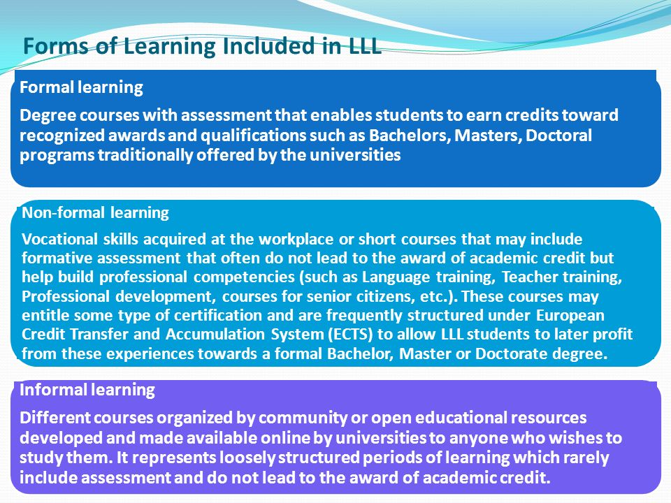 Formal learning Degree courses with assessment that enables students to earn credits toward recognized awards and qualifications such as Bachelors, Masters, Doctoral programs traditionally offered by the universities Non-formal learning Vocational skills acquired at the workplace or short courses that may include formative assessment that often do not lead to the award of academic credit but help build professional competencies (such as Language training, Teacher training, Professional development, courses for senior citizens, etc.).