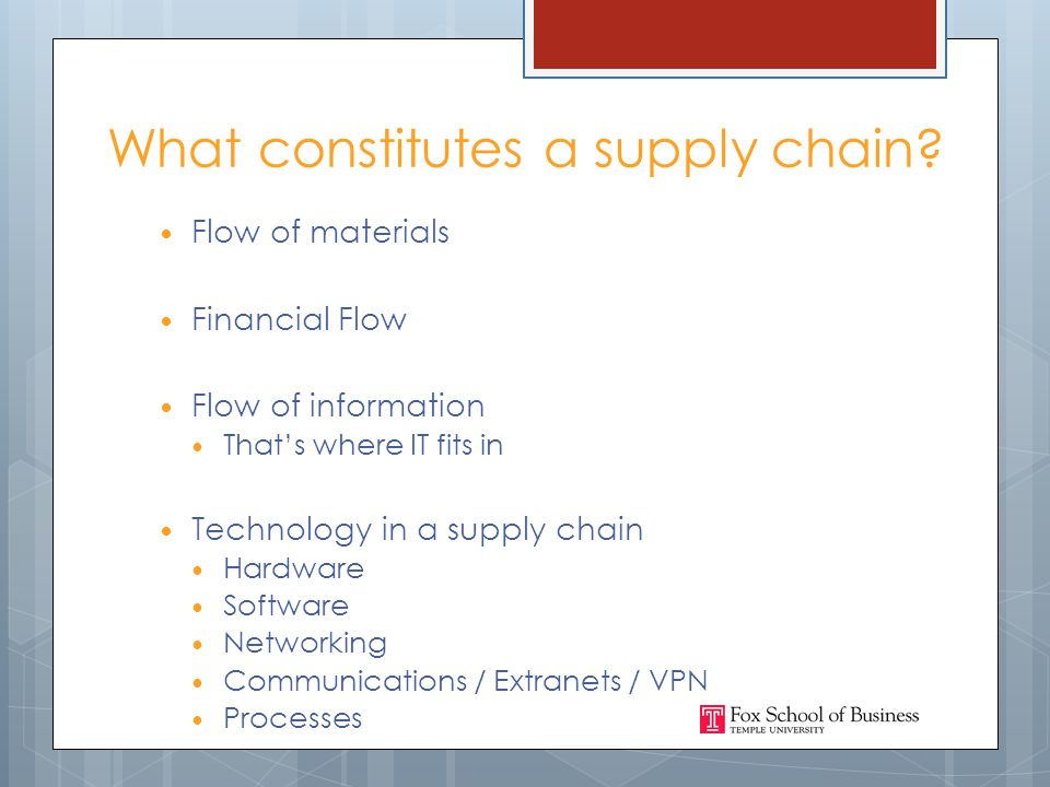 What constitutes a supply chain.