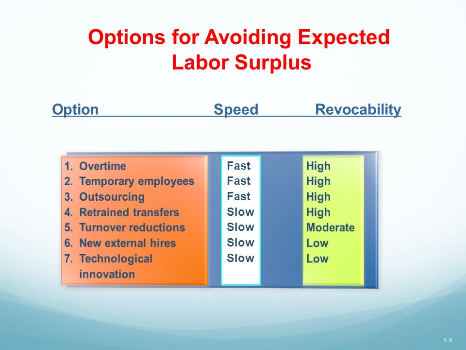 Options for Avoiding Expected Labor Surplus Option SpeedRevocability Fast Slow 5-4