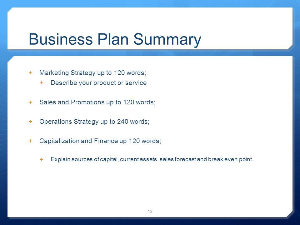 business plan summary