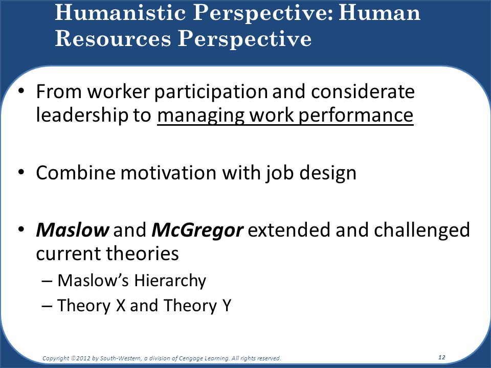 From worker participation and considerate leadership to managing work performance Combine motivation with job design Maslow and McGregor extended and