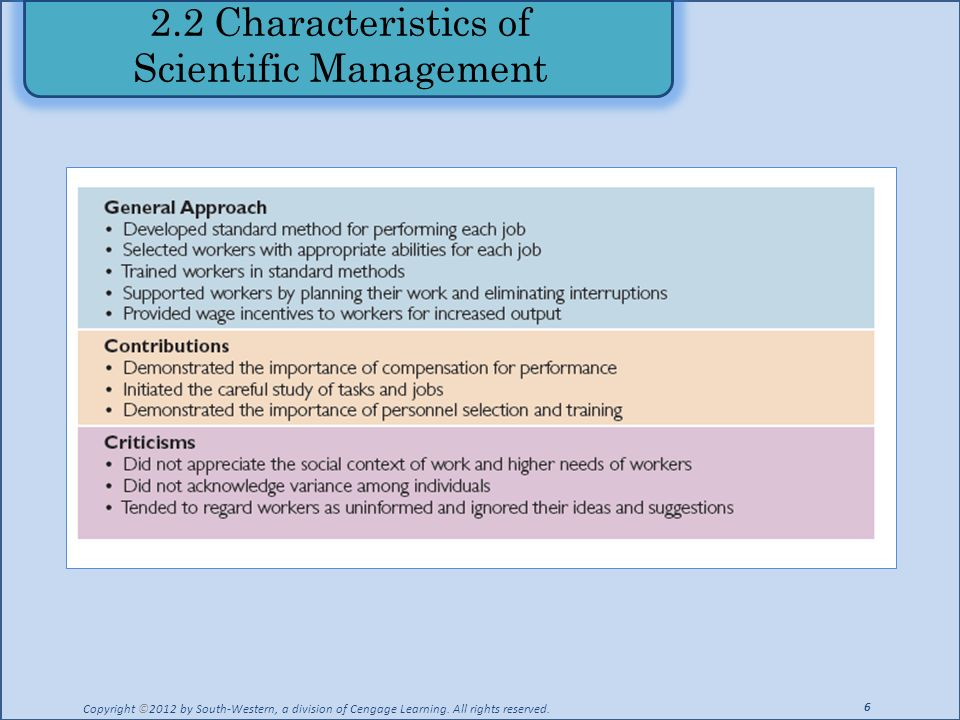 2.2 Characteristics of Scientific Management Copyright ©2012 by South-Western, a division of Cengage Learning. All rights reserved. 6