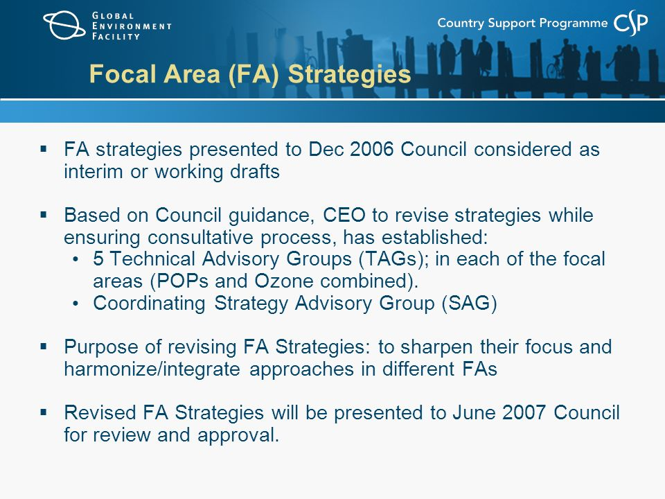 Focal Area (FA) Strategies  FA strategies presented to Dec 2006 Council considered as interim or working drafts  Based on Council guidance, CEO to revise strategies while ensuring consultative process, has established: 5 Technical Advisory Groups (TAGs); in each of the focal areas (POPs and Ozone combined).