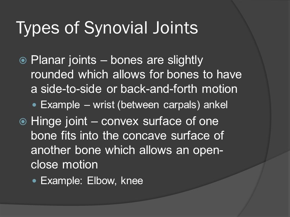 Types of Synovial Joints  Planar joints – bones are slightly rounded which allows for bones to have a side-to-side or back-and-forth motion Example – wrist (between carpals) ankel  Hinge joint – convex surface of one bone fits into the concave surface of another bone which allows an open- close motion Example: Elbow, knee