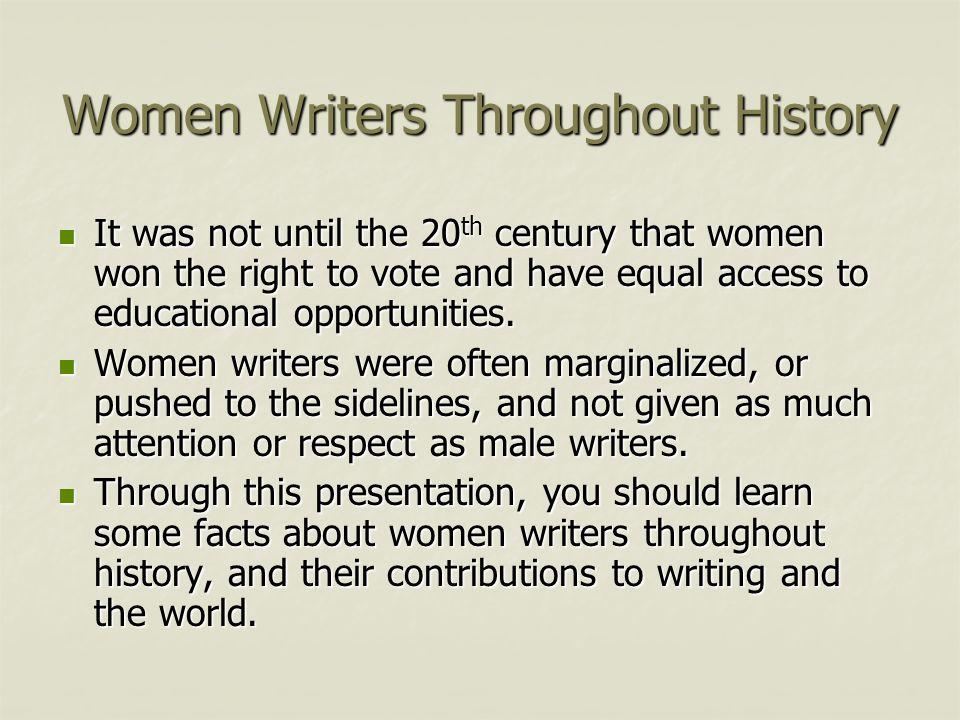 Women Writers: A Brief History Arleta High School Social Justice SLC ...
