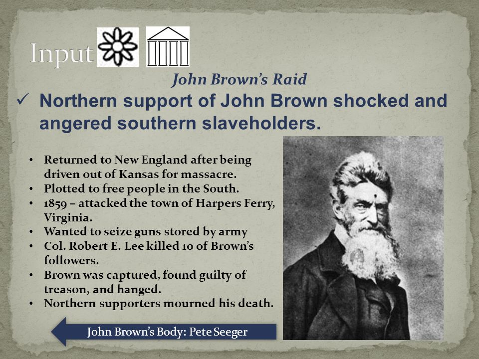 John Brown's Raid Northern support of John Brown shocked and angered southern slaveholders.