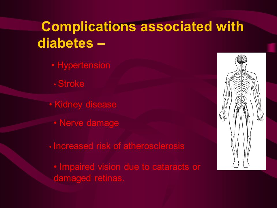 Complications associated with diabetes – Hypertension Stroke Kidney disease Nerve damage Increased risk of atherosclerosis Impaired vision due to cataracts or damaged retinas.