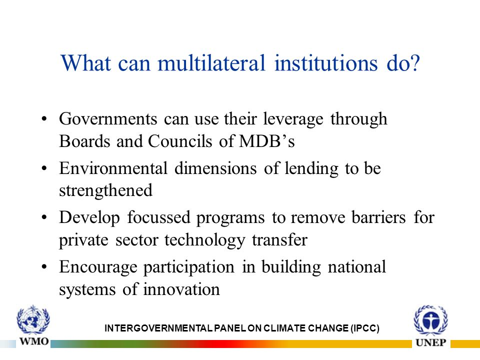 What can multilateral institutions do.
