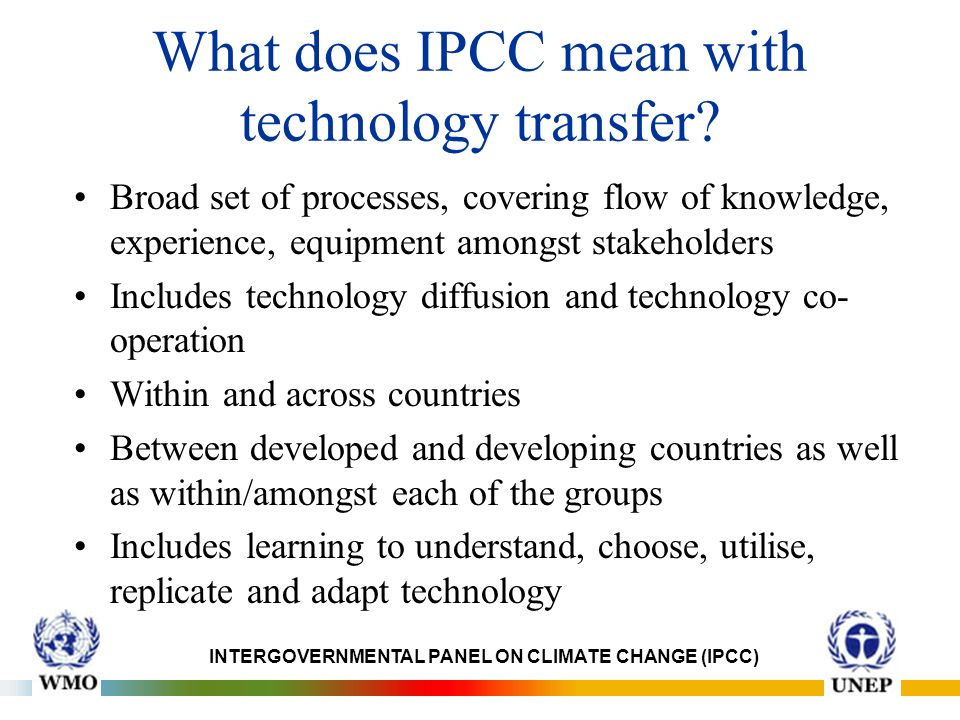 What does IPCC mean with technology transfer.