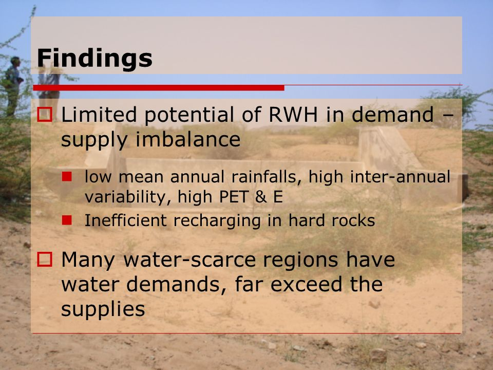 Findings  Limited potential of RWH in demand – supply imbalance low mean annual rainfalls, high inter-annual variability, high PET & E Inefficient recharging in hard rocks  Many water-scarce regions have water demands, far exceed the supplies
