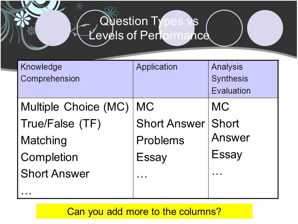 multiple choice vs essay