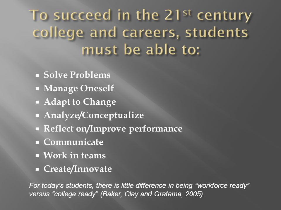  Solve Problems  Manage Oneself  Adapt to Change  Analyze/Conceptualize  Reflect on/Improve performance  Communicate  Work in teams  Create/Innovate For today's students, there is little difference in being workforce ready versus college ready (Baker, Clay and Gratama, 2005).