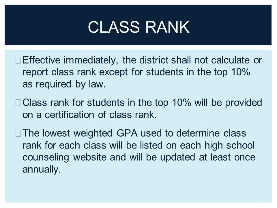 For freshmen entering high school in advanced academics mustang class rank effective immediately the district shall not calculate or report class rank except for ccuart Choice Image