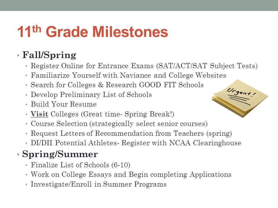 11 th Grade Milestones Fall/Spring Register Online for Entrance Exams (SAT/ACT/SAT Subject Tests) Familiarize Yourself with Naviance and College Websites Search for Colleges & Research GOOD FIT Schools Develop Preliminary List of Schools Build Your Resume Visit Colleges (Great time- Spring Break!) Course Selection (strategically select senior courses) Request Letters of Recommendation from Teachers (spring) DI/DII Potential Athletes- Register with NCAA Clearinghouse Spring/Summer Finalize List of Schools (6-10) Work on College Essays and Begin completing Applications Investigate/Enroll in Summer Programs