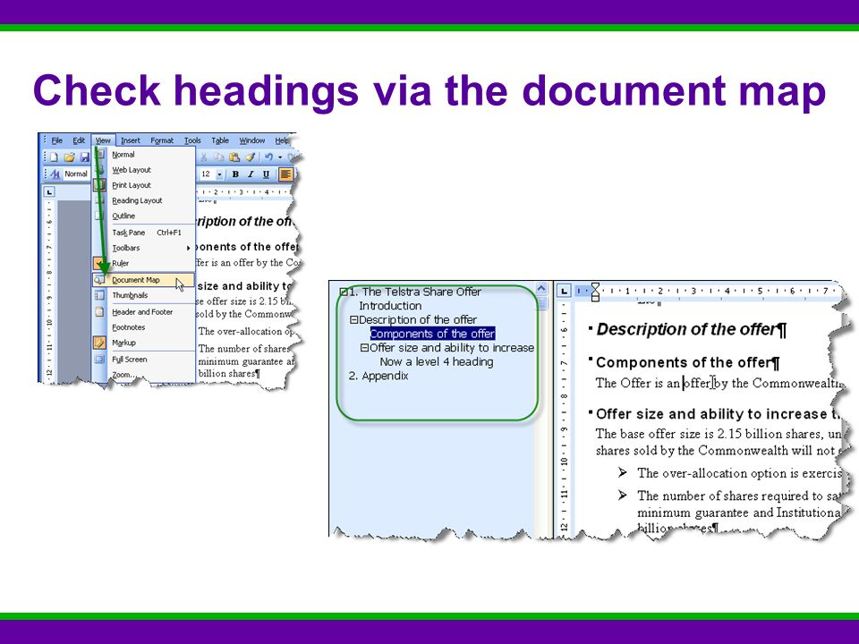 Check headings via the document map