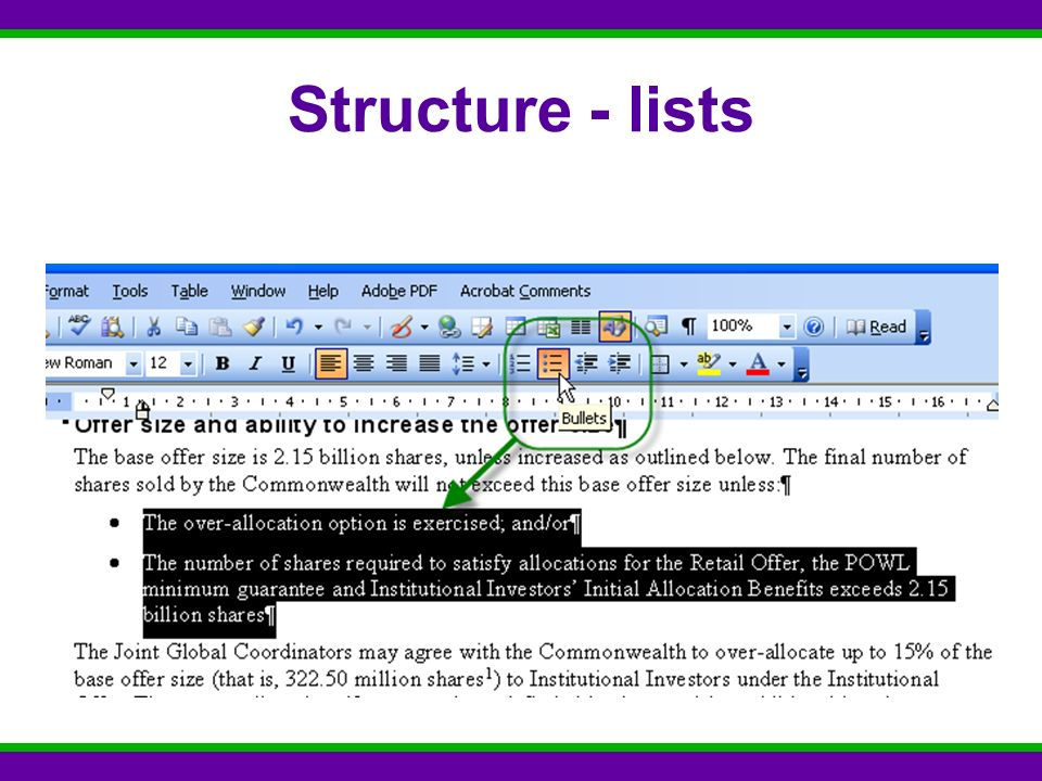 Structure - lists