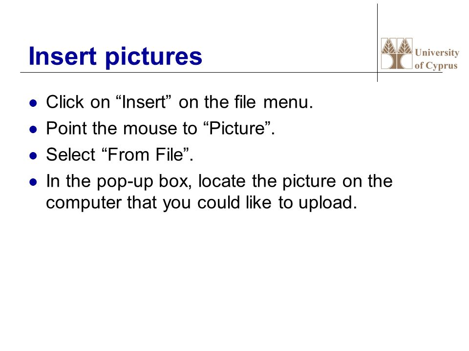 Insert pictures Click on Insert on the file menu.