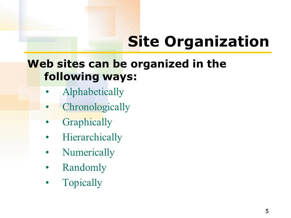 1 after completing this lesson you will be able to define your 5 5 site organization web sites can be organized in the following ways alphabetically chronologically graphically hierarchically numerically randomly malvernweather Images