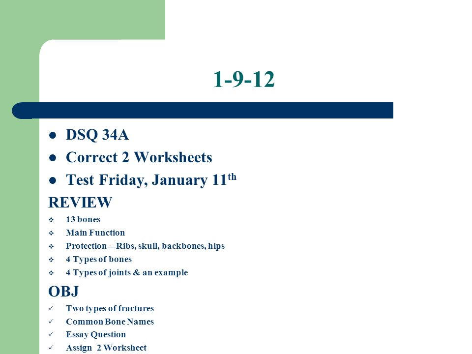 Skeletal System Test Friday January 11th REVIEW DSQ 32B Clean – Types of Joints Worksheet