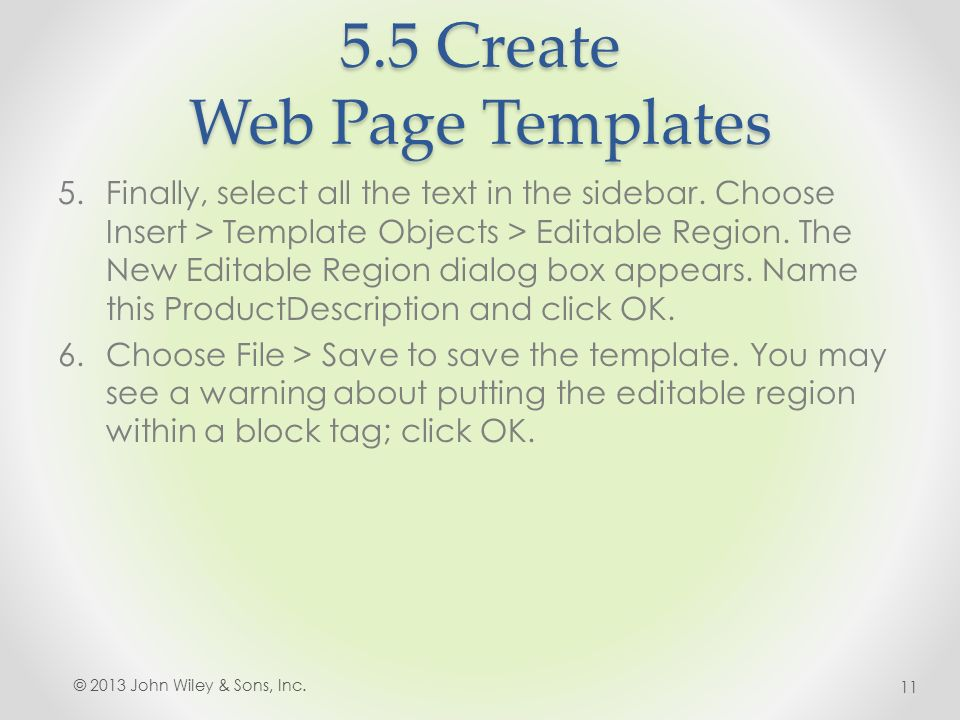5.5 Create Web Page Templates 5.Finally, select all the text in the sidebar.