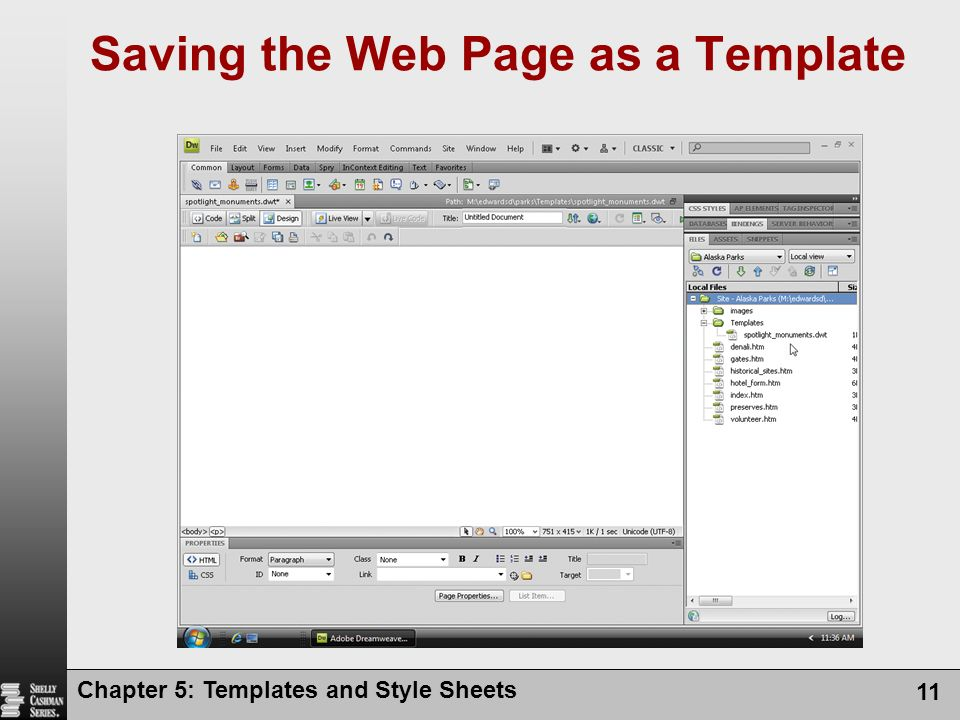 Chapter 5: Templates and Style Sheets 11 Saving the Web Page as a Template