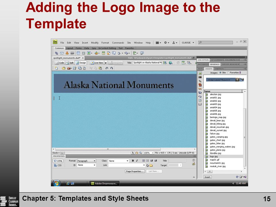 Chapter 5: Templates and Style Sheets 15 Adding the Logo Image to the Template