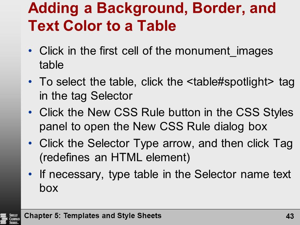 Chapter 5: Templates and Style Sheets 43 Adding a Background, Border, and Text Color to a Table Click in the first cell of the monument_images table To select the table, click the tag in the tag Selector Click the New CSS Rule button in the CSS Styles panel to open the New CSS Rule dialog box Click the Selector Type arrow, and then click Tag (redefines an HTML element) If necessary, type table in the Selector name text box