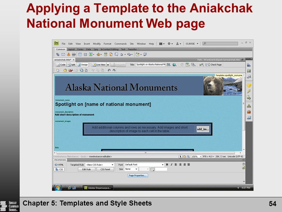 Chapter 5: Templates and Style Sheets 54 Applying a Template to the Aniakchak National Monument Web page