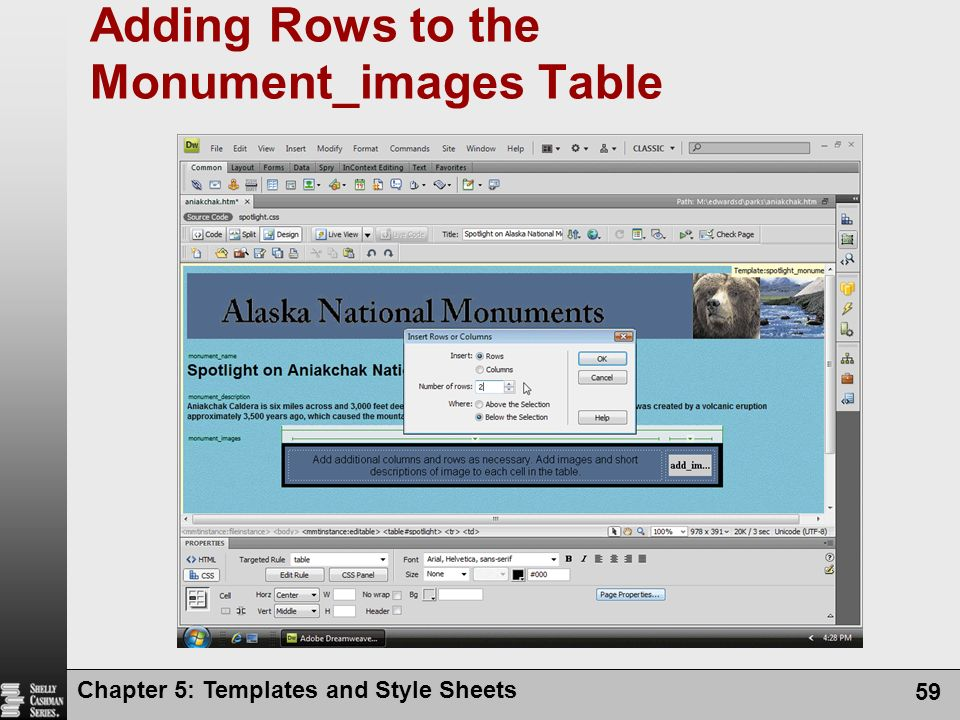 Chapter 5: Templates and Style Sheets 59 Adding Rows to the Monument_images Table