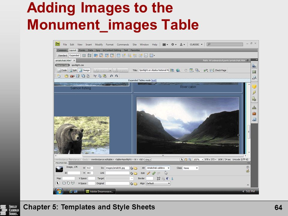 Chapter 5: Templates and Style Sheets 64 Adding Images to the Monument_images Table