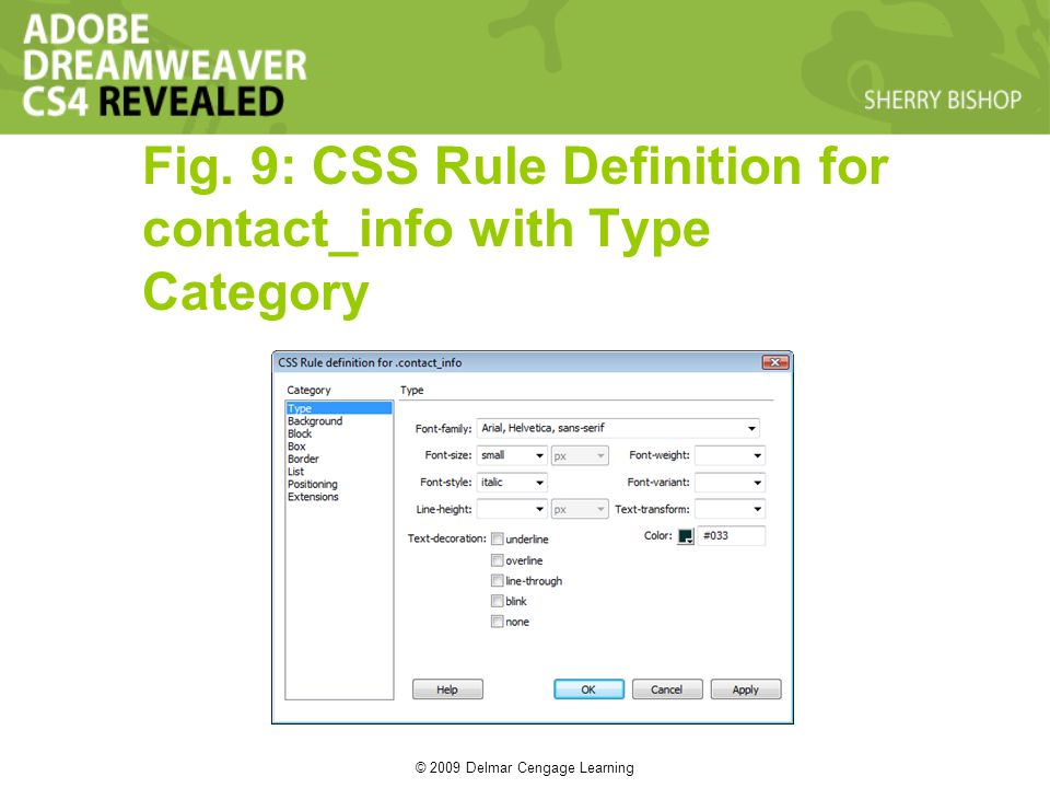 © 2009 Delmar Cengage Learning Fig. 9: CSS Rule Definition for contact_info with Type Category