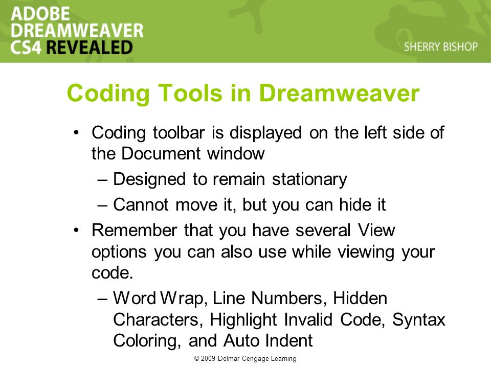 © 2009 Delmar Cengage Learning Coding Tools in Dreamweaver Coding toolbar is displayed on the left side of the Document window –Designed to remain stationary –Cannot move it, but you can hide it Remember that you have several View options you can also use while viewing your code.