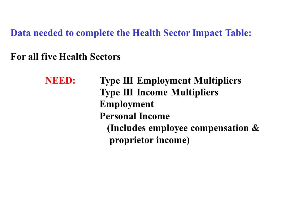 Data needed to complete the Health Sector Impact Table: For all five Health Sectors NEED:Type III Employment Multipliers Type III Income Multipliers Employment Personal Income (Includes employee compensation & proprietor income)