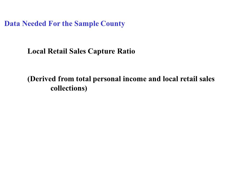 Data Needed For the Sample County Local Retail Sales Capture Ratio (Derived from total personal income and local retail sales collections)