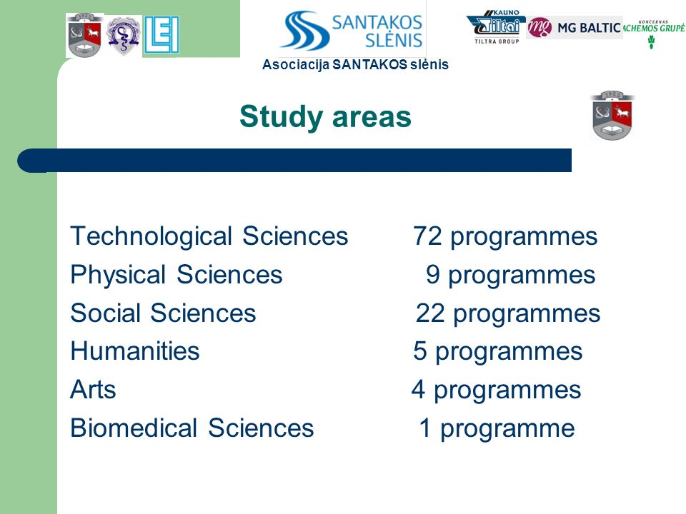 Study areas Technological Sciences72 programmes Physical Sciences 9 programmes Social Sciences 22 programmes Humanities 5 programmes Arts 4 programmes Biomedical Sciences 1 programme Asociacija SANTAKOS slėnis