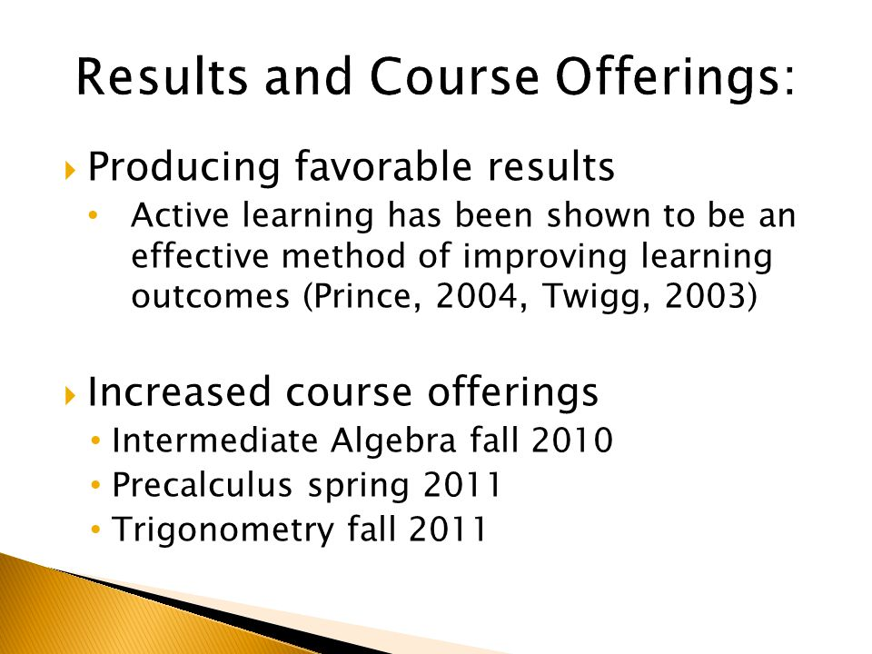  Producing favorable results Active learning has been shown to be an effective method of improving learning outcomes (Prince, 2004, Twigg, 2003)  Increased course offerings Intermediate Algebra fall 2010 Precalculus spring 2011 Trigonometry fall 2011