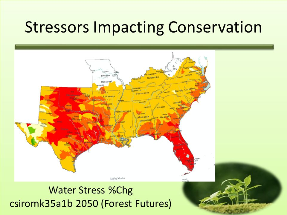 Water Stress %Chg csiromk35a1b 2050 (Forest Futures) Stressors Impacting Conservation