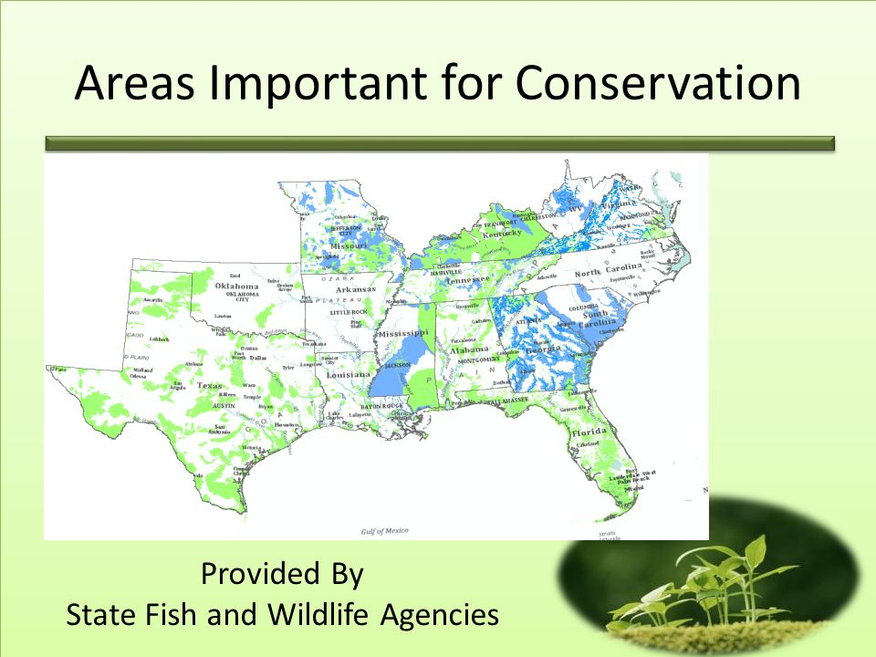 Provided By State Fish and Wildlife Agencies Areas Important for Conservation