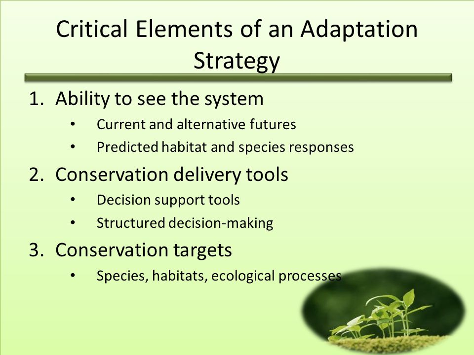 Critical Elements of an Adaptation Strategy 1.Ability to see the system Current and alternative futures Predicted habitat and species responses 2.Conservation delivery tools Decision support tools Structured decision-making 3.Conservation targets Species, habitats, ecological processes