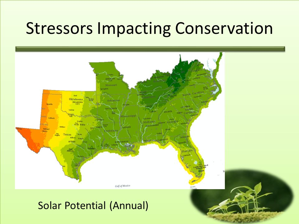 Solar Potential (Annual) Stressors Impacting Conservation