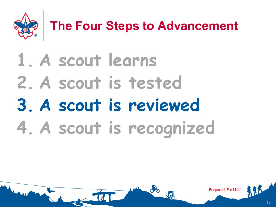16 The Four Steps to Advancement 1.A scout learns 2.A scout is tested 3.A scout is reviewed 4.A scout is recognized 16