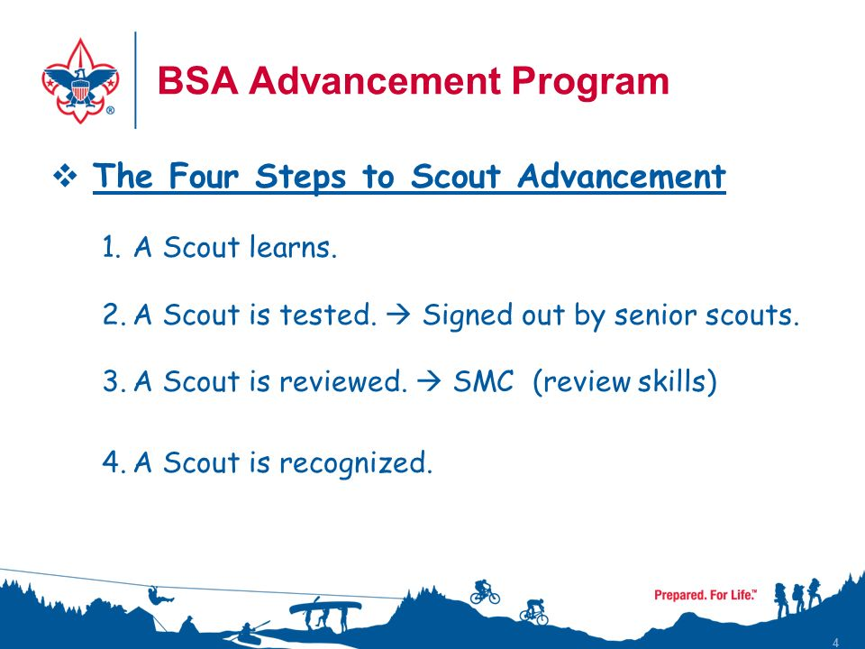 4  The Four Steps to Scout Advancement 1.A Scout learns.